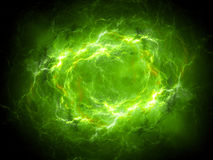 Green glowing plasma lightning in space. Computer generated abstract background, 3D rendering Royalty Free Stock Images