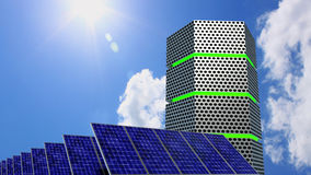 Green glowing server next to solar panels Royalty Free Stock Images