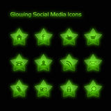 Green Glowing Social Media Icons Royalty Free Stock Images