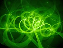Green glowing spaghetti curves in space. Computer generated abstract background, 3D rendering Royalty Free Stock Images