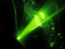 Green glowing star shape source with rays and multidimensional r. Ectangles in space, futuristic technology, computer generated abstract background, 3D rendering Royalty Free Stock Photos