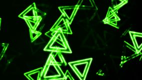 Green Glowing Triangles Animation Background stock footage