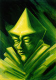 Green gnome. Strange picture painted by me showing the face of a green gnome Royalty Free Stock Image