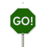 Green Go highway road sign Royalty Free Stock Images