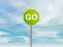 Green GO sign in the sky Royalty Free Stock Photos