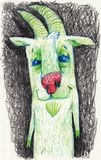Lovely goat is green. Suitable for children`s subjects and for publications. royalty free illustration