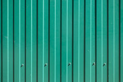 Green goffered metal texture with screw heads. Corrugated steel background Royalty Free Stock Photography