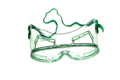 Green goggles with strap on white background Royalty Free Stock Image
