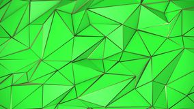 Green and gold abstract low poly triangle background. 4k stock footage