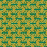 Green on gold ant geometric pattern seamless repeat background. Two colour simple ant geometric pattern seamless repeat background. Could be used for background Royalty Free Stock Photography