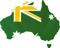 Green and gold Australian flag in map Royalty Free Stock Images