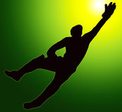 Green Gold Back Sport Silhouette Wicket Keeper Stock Photography