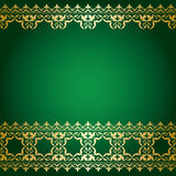 Green and gold background with vintage border - vector Stock Photography