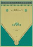 Green gold certificate. Lace texture. Royalty Free Stock Photography