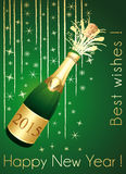 Green and gold Champaign greeting card. Happy New Year 2015 Stock Photography