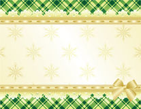 Green and gold Christmas background. Decorated with golden lace and bow, illustration Stock Photography