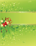 Green and gold Christmas card with christmas tree. And holly berries, , illustration Stock Photography