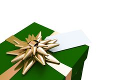 Green and gold christmas gift Stock Photography