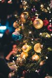 Green and Gold-colored Lighted Christmas Tree royalty free stock photo