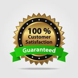 Green and Gold Customer Satisfaction Guarantee. D isolated on a white background Stock Photos