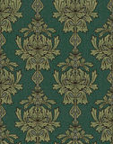 Green with gold damask background Stock Photos