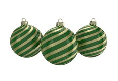 Green and gold decorative Christmas balls. Isolated New Year image. Vintage green decorative Christmas balls with gold reflect ornament. Isolated New Year image Stock Photos