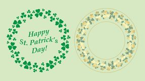 Green and gold decorative round vector frames with clover for saint patrick holiday royalty free illustration