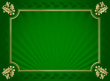 Green and Gold Elegant Holly Trimmed Background. Lustrous Green and Gold  Elegant Holly Trimmed Background Royalty Free Stock Photo