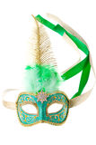 Green and gold feathered carnival mask Royalty Free Stock Photography