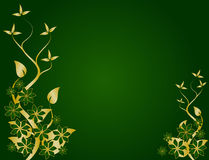 Green and Gold Floral Design Stock Photo