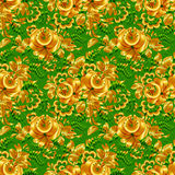 Green and gold floral seamless pattern Stock Photography