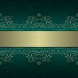 Green gold floral vintage seamless pattern. Vector background Royalty Free Stock Photo