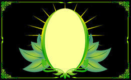 Green gold frame corner floral oval leaf Royalty Free Stock Image