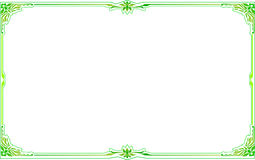 Green gold frame corner floral Stock Photos