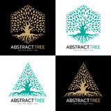 Green and gold Hexagonal and triangle abstract tree logo vector art design Stock Images