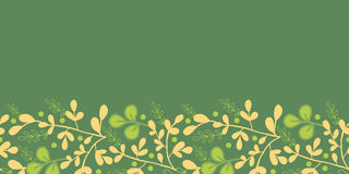 Green And Gold Leaves Horizontal Seamless Pattern Stock Images