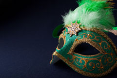 Green and gold mask. On dark  background Royalty Free Stock Images