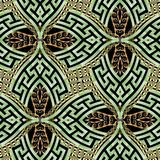 Green gold ornamental modern 3d  greek vector seamless pattern. Ethnic style vintage background. Geometric repeat abstract. Backdrop. Decorative trendy ornament stock illustration