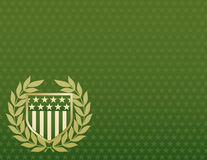 Green and Gold Shield on a Star Background Royalty Free Stock Images