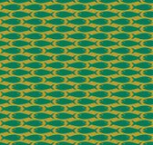 Green on gold simple fish pattern seamless repeat background. Two colour simple fish pattern seamless repeat background. Could be used for background pattern Stock Photography