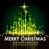 Green Gold Space Shining Christmas tree design Stock Photos
