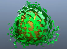 Green and Gold Sphere Shattered Abstract 3d isolated. On background Stock Image