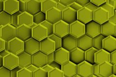 Green golden backgound with hexagons. Royalty Free Stock Photography