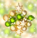 Green and golden christmas bubles. Festive ornaments Stock Photography