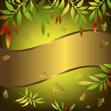 Green and golden floral background. Green floral background with wave golden banner and leaves royalty free illustration