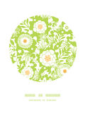 Green and golden garden silhouettes circle decor Stock Photo