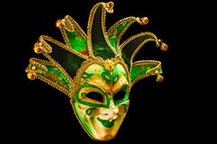 Green and golden carnival mask royalty free stock image