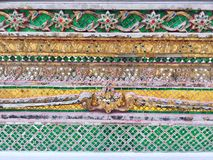 Green and Golden mosaic temple decorative pattern, Bangkok,Thailand stock photos
