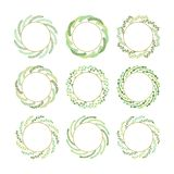 Green and golden twisted leaves Christmas wreaths set design elements on white background stock illustration