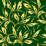 Green and golden vector seamless floral texture Royalty Free Stock Images